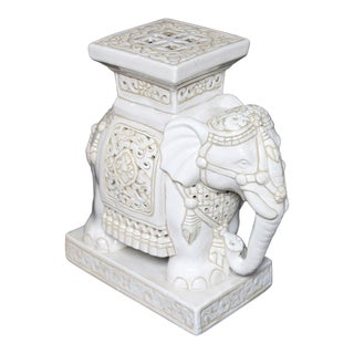 1990s Vintage Elephant Antique White Ceramic Garden Stool For Sale