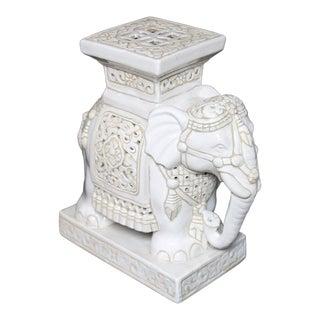 Vintage Elephant Antique White Ceramic Garden Stool For Sale