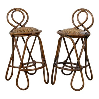 Vintage Mid-Century Twisted Wood Rattan Stools - A Pair For Sale