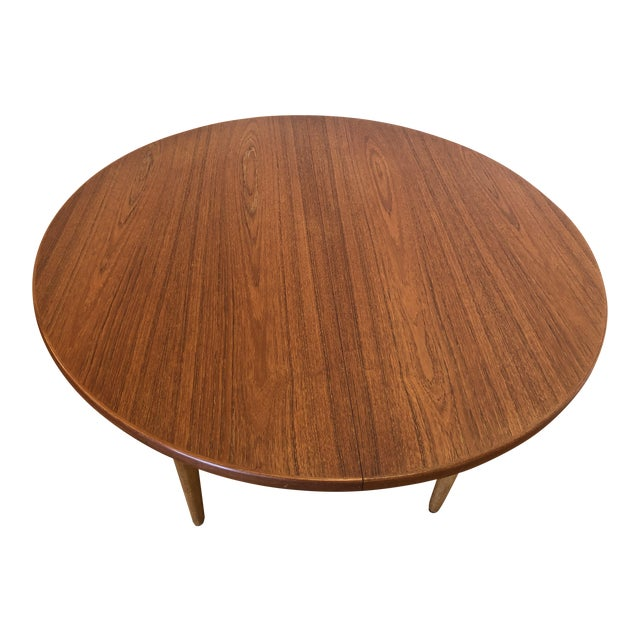 J O Carlsson Vintage Teak Dining Table Round Expanding To Oval