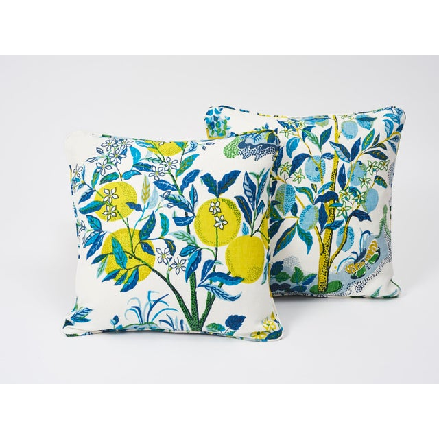 Schumacher Double-Sided Pillow in Citrus Garden Pool Blue Linen Print - Image 2 of 7