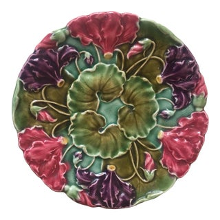 1900s Majolica Plate For Sale
