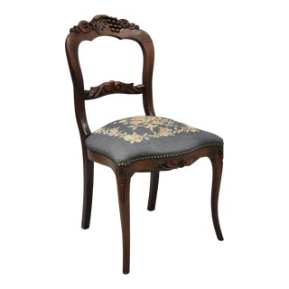 Early 20th Century Victorian Colonial Furniture Fruit Carved Mahogany Blue Needlepoint Chair