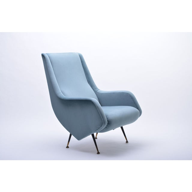 Italian Blue Armchair from ISA Bergamo, 1950s For Sale - Image 10 of 10
