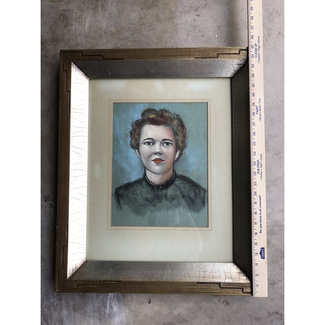 Vintage Female Portrait Chalk Drawing - Image 6 of 7