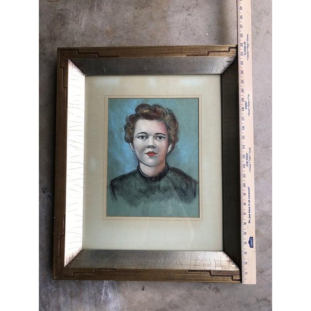 Vintage Female Portrait Chalk Drawing - Image 6 of 7