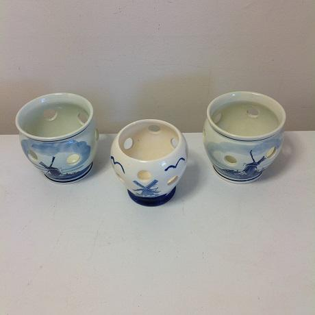 Delft Blue Hand- Painted Holland Bulb Planters - Set of 3 - Image 7 of 7
