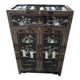 Vintage Asian Black Lacquer Cabinet With Mother Of Pearl