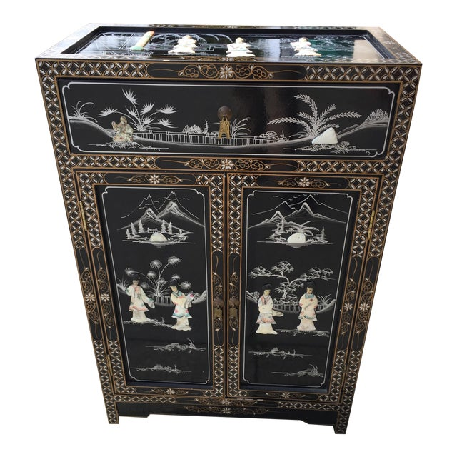 Vintage Asian Black Lacquer Cabinet With Mother Of Pearl For Sale