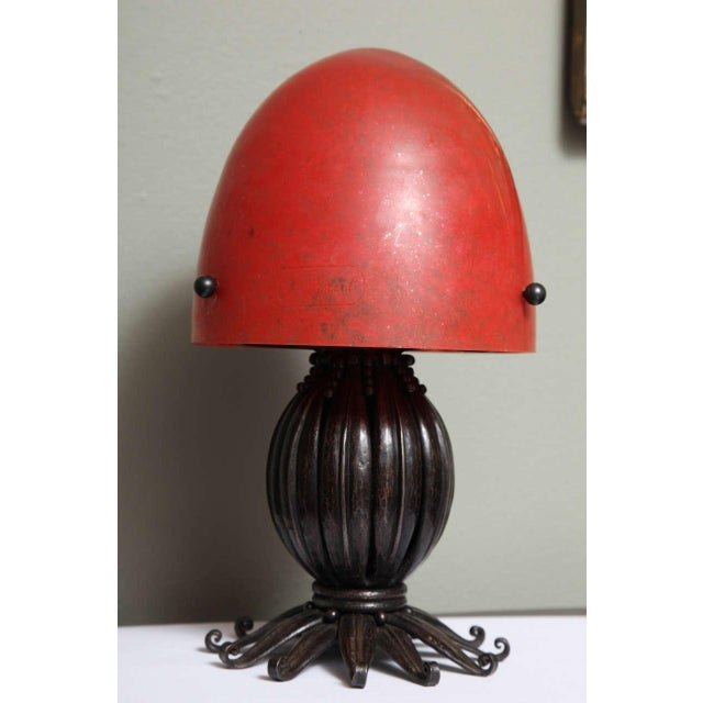 Red Louis Katona French Wrought Iron and Glass Table Lamp For Sale - Image 8 of 8