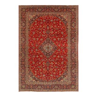 Rust Semi Antique Persian Hand Knotted Fine Kashan 10' X 14'4'' For Sale