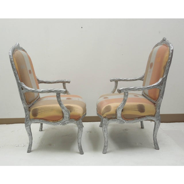 1980s Silver Leaf 1980s Vintage Faux Bois Twig Dining Chairs - Set of 6 For Sale - Image 5 of 8