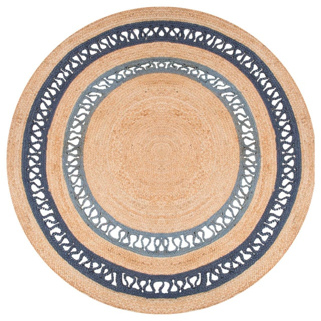 Contemporary Contemporary Jaipur Living Elly Natural Bordered Beige/ Blue Round Area Rug - 6′ × 6′ For Sale - Image 3 of 3