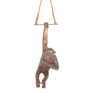 Large and Impressive Bustamante Copper Chimpanzee Hanging Sculpture For Sale