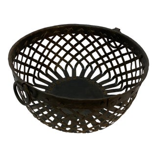 Handmade Woven Strap Iron Bowl For Sale
