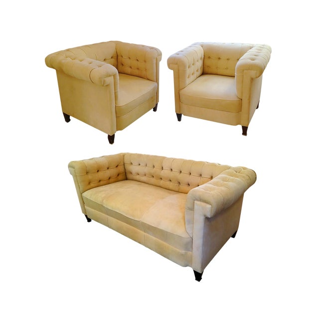 1920s Bauhaus Josef Hoffmann Style Leather Sofa & Club Chairs - Set of 3 For Sale