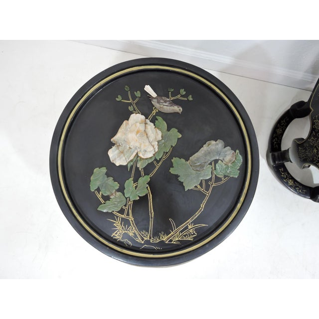 Glass Vintage Chinese Mother of Pearl & Soapstone Black Lacquer Garden Stools/Side Tables - a Pair For Sale - Image 7 of 9