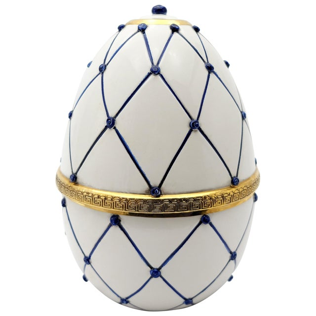 """Sigma L2 Italian Ceramic Rete Blue and Gilt Bronze """"Egg Form"""" Covered Box Offered for sale is a large Italian ceramic """"egg..."""