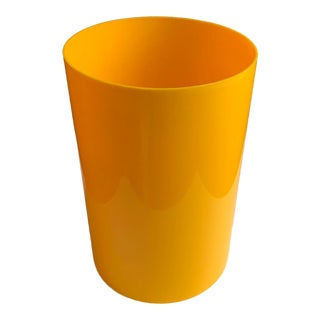 Vintage Kartell Yellow Plastic Wastebasket For Sale