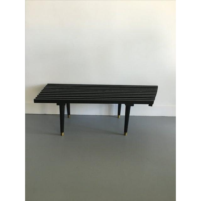 Vintage Wood Slat Bench Herman Miller Style - Image 2 of 6