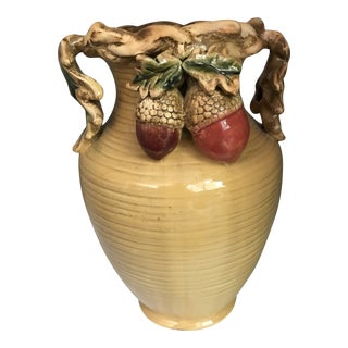 Tuscan Mustard Yellow Decorative 2 Handle Leaf Vase/Jug With Acrons For Sale