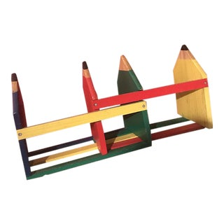 Pop Art Style Hand Painted Book Shelf of Giant Pencils For Sale
