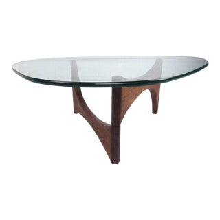 Mid-Century Modern Noguchi Style Triangular Glass Top Coffee Table For Sale
