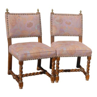 Pair Vintage Spanish Mission Style Barley Twist Mauve Accent Chairs Floral For Sale