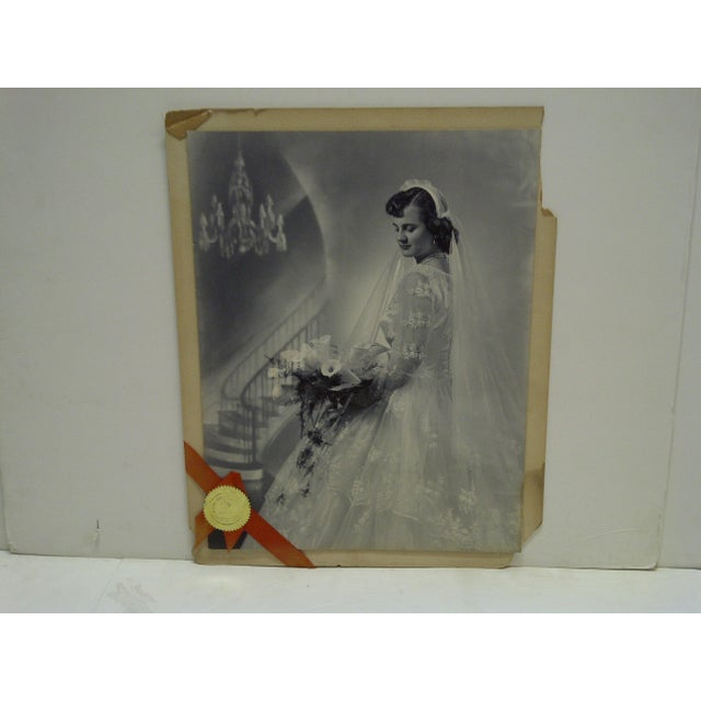 "This is a Vintage -- Black And White Photograph (Mounted On Board) -- Titled ""Portrait Of A Bride"" -- By Vincent Evans Jr...."