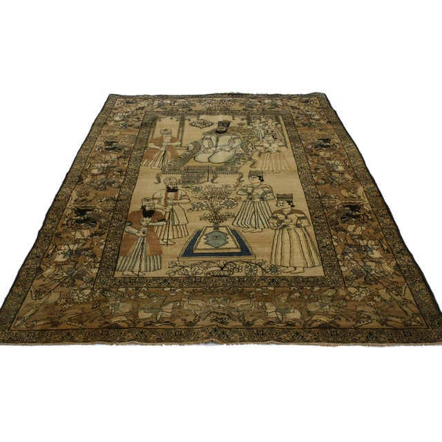 "Empire Antique Persian Kerman Nader Shah Pictorial Rug - 4'4"" x 8'1"" For Sale - Image 3 of 3"