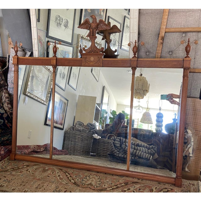 This Federal style mirror is a unique and rare find. A horizontally oriented three-panel over mantel or wall mirror with...