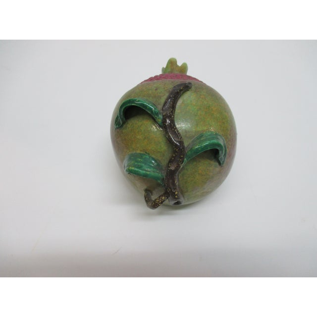 Late 20th Century Chinese Export Pomegranate With Raised Leaves and Stand Detail For Sale - Image 5 of 5