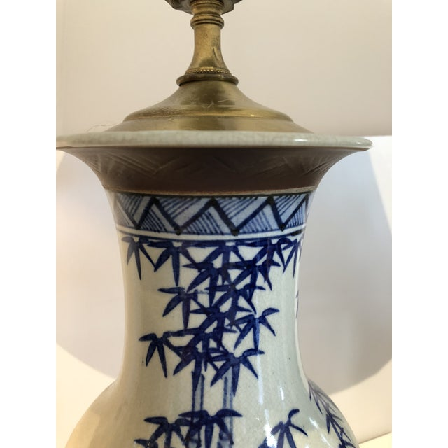 Chinese Blue and White Vase Mounted as Lamp With Silk Lampshade For Sale - Image 4 of 5