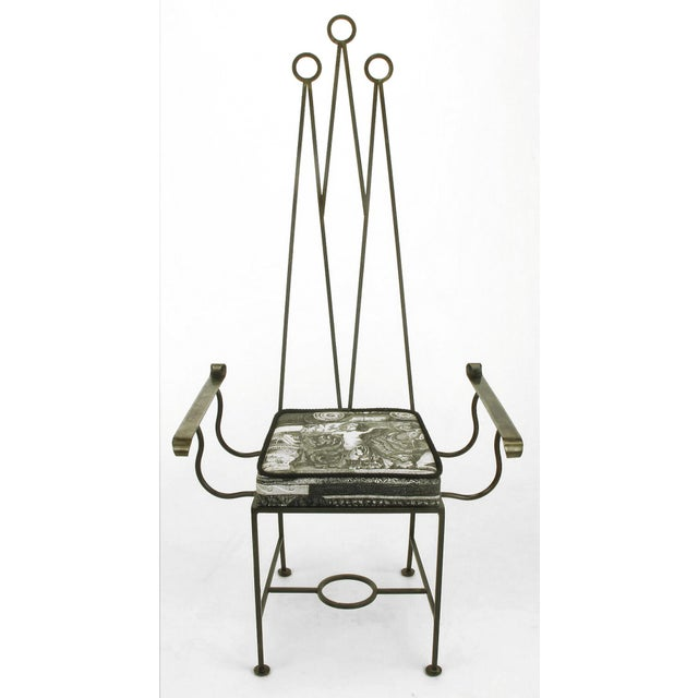 """Memphis Set of Eight Blackened, Wrought Iron, Tall """"Royal"""" Dining Chairs For Sale - Image 3 of 10"""