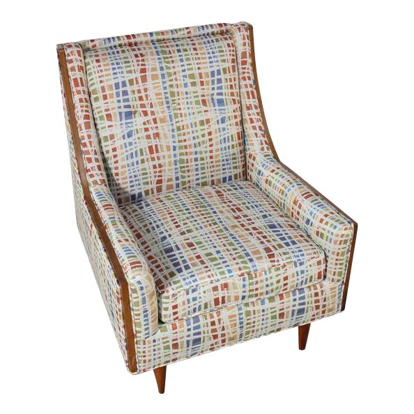 Mid-Century American Modern Lounge Chair with Walnut Border - Image 1 of 9