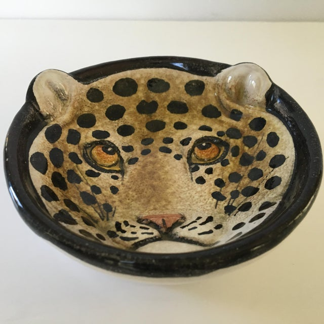 Mid 20th Century Italian Mid-Century Modern Leopard Pottery Bowl/Catchall For Sale - Image 5 of 10