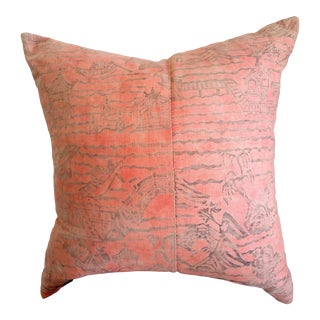 Vintage Japanese Motif Pillow With Natural Linen Back Panel For Sale