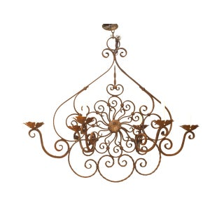19th-20th Century Italian Renaissance Style Wrought Iron Chandelier For Sale