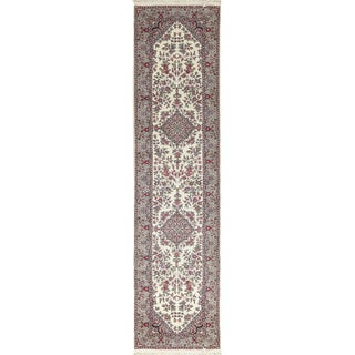 Traditional Hand Woven Light Gray and Pink Wool Rug 2'6 X 10' For Sale