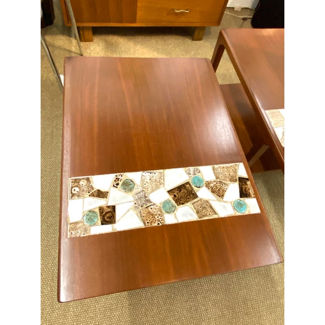 Vintage Pair Of Mid Century Modern Wood Side End Tables w/ Ceramic Tile Inlay Great overall condition. Very nice finish....