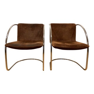 Italian Suede and Chrome Chairs by Vecta- A Pair For Sale