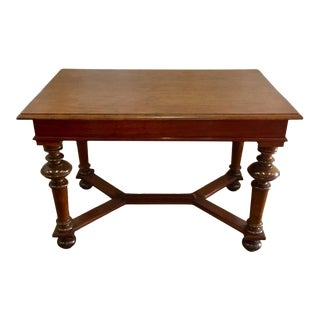 Vintage English Walnut Refectory Table For Sale