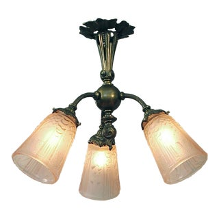 1920s French 3-Light Flush Mount Chandelier For Sale