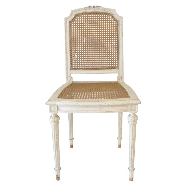 Tan Louis XVI Style Cane Chairs With Carved Garland Detail - a Pair For Sale - Image 8 of 10