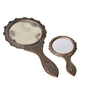 Antique Handheld Bronze Seashell Mirrors- a Pair For Sale