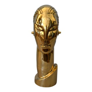 Art Deco Style Hagenauer Manner Bronze Bust, Figurative Sculpture Elongated Neck For Sale