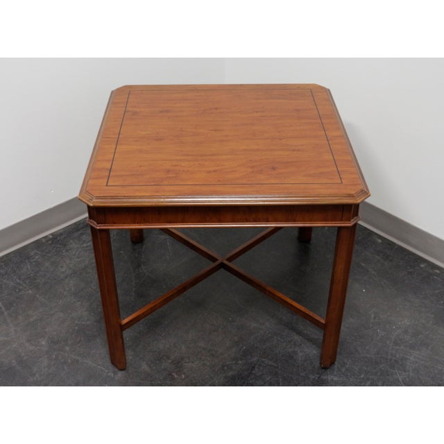 Chippendale Drexel Heritage Yorkshire Yew Wood Chippendale Accent Table For Sale - Image 3 of 9
