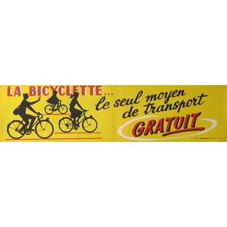 Vintage French Bicycling Banner, 1954 (Yellow)