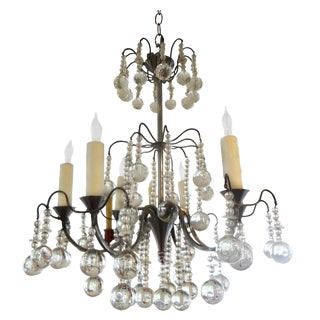 1940s Vintage French Louis XVI Style Crystal Chandelier For Sale