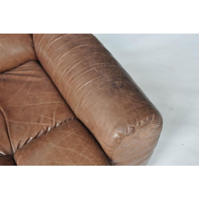 Early 20th Century Large Scale 1970s Leather Lounge Chair For Sale - Image 5 of 7